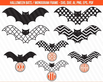Halloween bat Svg, Bat svg, Halloween svg, bat monogram svg, halloween clipart, Chevron bat, Bat clipart, cricut - svg,dxf,ai,eps,pdf,png