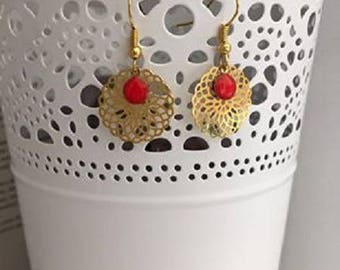 Red and gold Flora earrings