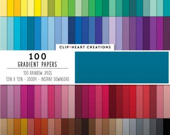 100 gradient color paper, Digital paper, Commercial use, rainbow color, instant download, scrap booking paper, colorful digital paper
