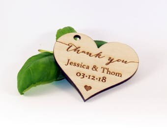 Thank you tags, Wood favor tags, Wedding favors, Rustic tags, Wedding rustic tags, Custom tags, Heart tags, Wedding name tags, Rustic favor