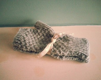 Beautifully Soft Hand-knitted Grey Fingerless Gloves