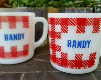 Pair of 1950s Westfield RANDY Milk Glass Mugs in Fantastic Condition