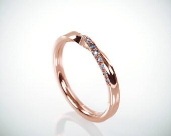 SALE! 14k Rose Gold Mubius Ring set with Blue Diamonds | Blue Diamonds Mobius Ring |14k Rose Gold Mobius Wedding Ring set with Blue Diamonds