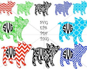 Preppy Pig Monogram SVG, Pig SVG, Cricut, Silhouette Cut Files
