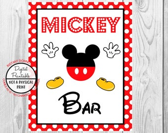 "Mickey Bar Sign, Mickey Mouse Birthday Party Sign, 8""x10"" Printable, Instant Download"