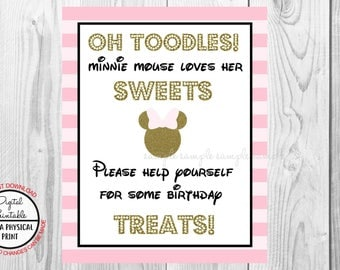 """Oh Toodles Sweets For Some Birthday Treats Sign, Minnie Mouse Birthday Party Sign, 8""""x10"""" Printable, Instant Download, Gold & Pink Sign"""