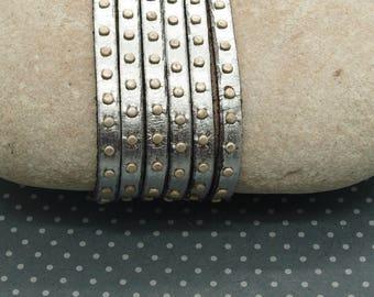 20 cm silver rivet 5mm grey flat leather cord