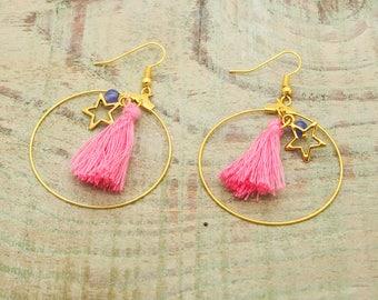 Kit earrings ' ear star tassel with jade bead