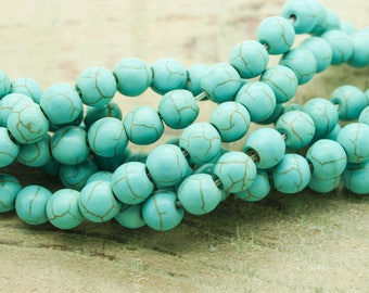 8 by 10 mm howlite round beads