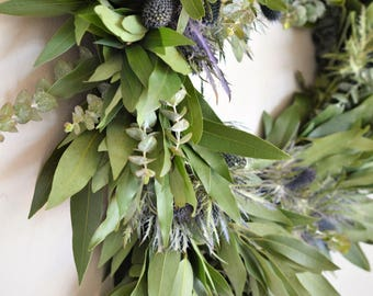 Bay and Thistle Wreath | Autumn Wreath | Fall Wreaths for Front Door | Front Door Wreaths | Eucalyptus Wreath | Wreaths for Front Door