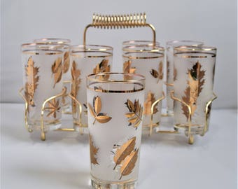 Set of 8 Libbey Glasses with Carrying Rack/ Fancy Dinner Tumblers Set