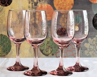 Set of 4 Vintage Pink Wine Goblets /Blue Wine Glasses / Vintage Glassware