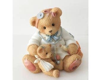 Vintage Cherished Teddies Figurine, 1997 Dr. Darlene Makebetter Figurine, Vintage Bear Figurine, Doctor Gift, Baby Room, Babe Shower Gift