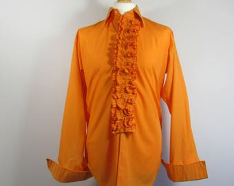 """SOLD! Fabulous 1970's LLOYD RUFFLE Front Shirt - Size 42, 16.5"""" Collar, 1970's Theme Party, Stag Do, Stag Party, Austin Powers, Orange"""