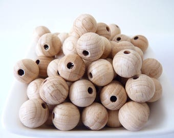 Natural 15 mm unfinished beech wooden beads/ teething beads/ natural organic beads/ toy jewelry supplies