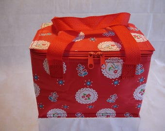Red Doily Shabby Chic Lunch Bag Insulated Picnic Cool Bags