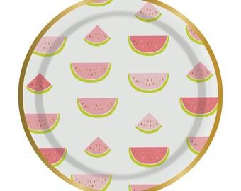 Watermelon Plates, Watermelon Party, Party Plates, Summer Party, Hello Summer Party, Summer Plates, Summer Watermelon, Gold Foil Plates