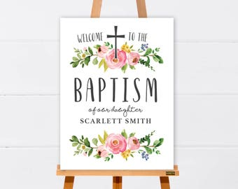 Welcome Sign | Baptism Welcome Sign | Floral Welcome Sign | Customised Printable