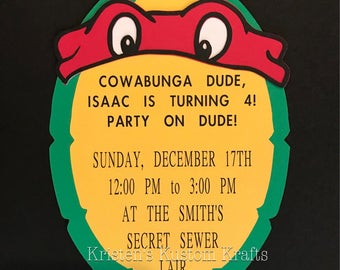 5x7 Ninja Turtle theme party invitations