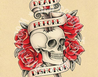 Death before Dishonor. Skull, dagger and roses. Old school tattoo. Instant Download. Printable Illustration.