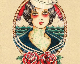 Seafaring woman. Flash tattoo. Old school tattoo. Art tattoo. Digital Print, Instant Download. Printable Illustration.