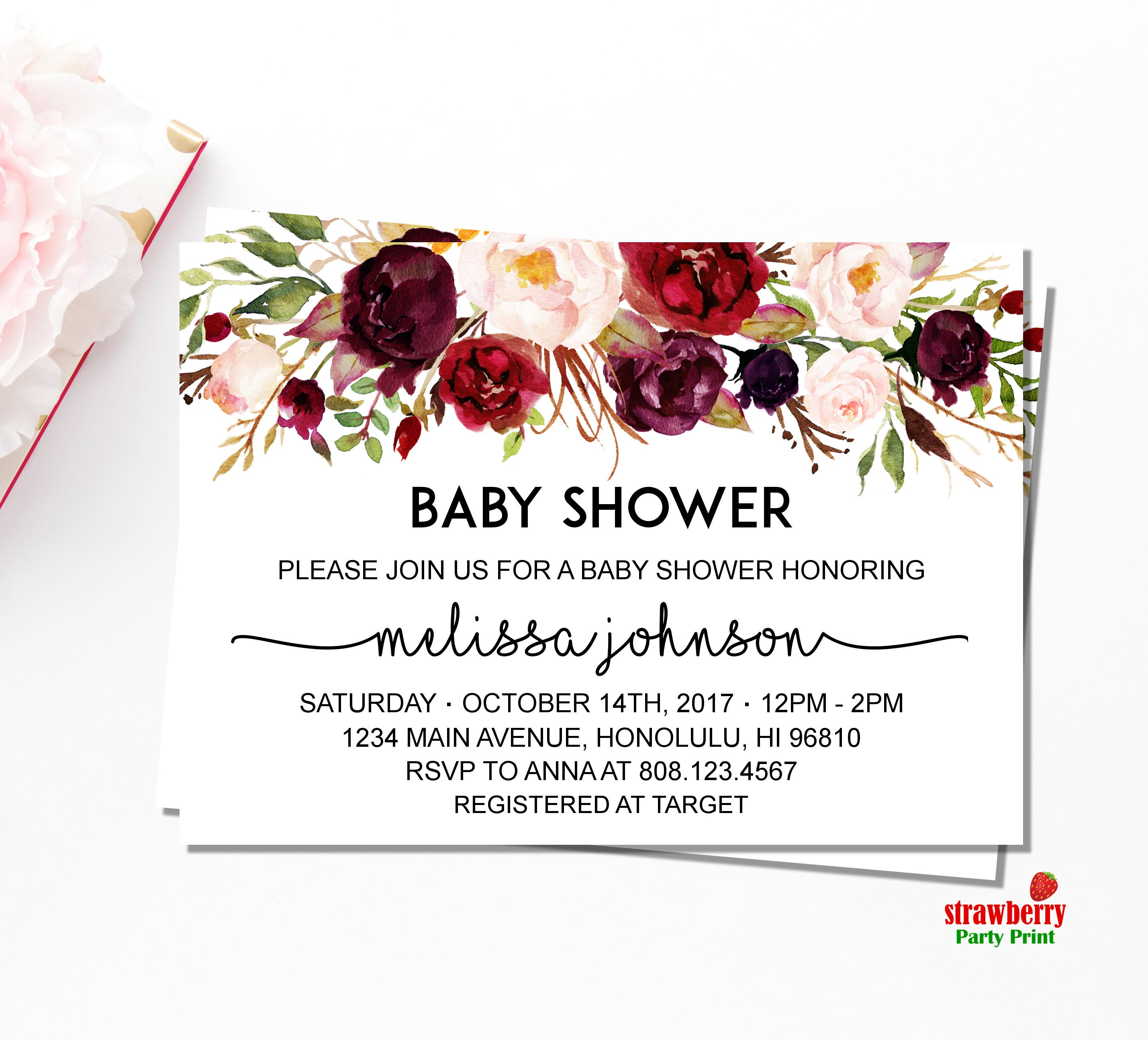 Fall Baby Shower Invitation. Watercolor Red Floral Baby Shower ...