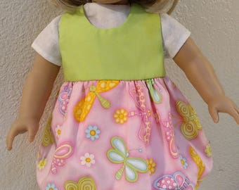 Dragonflies Bubble-skirted Sun Dress with White Damask Blouse for American Girl and 18 inch Dolls
