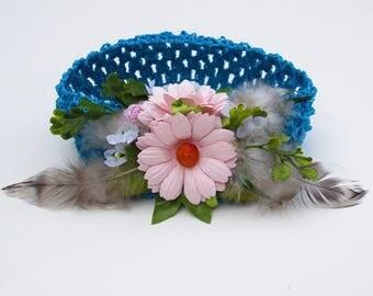 Feather Flower Headband - Toddler Girl Headbands, Toddler Headbands, Flower Girl Headband, Boho Headband, Flower Crown, Boho Crown Headbands