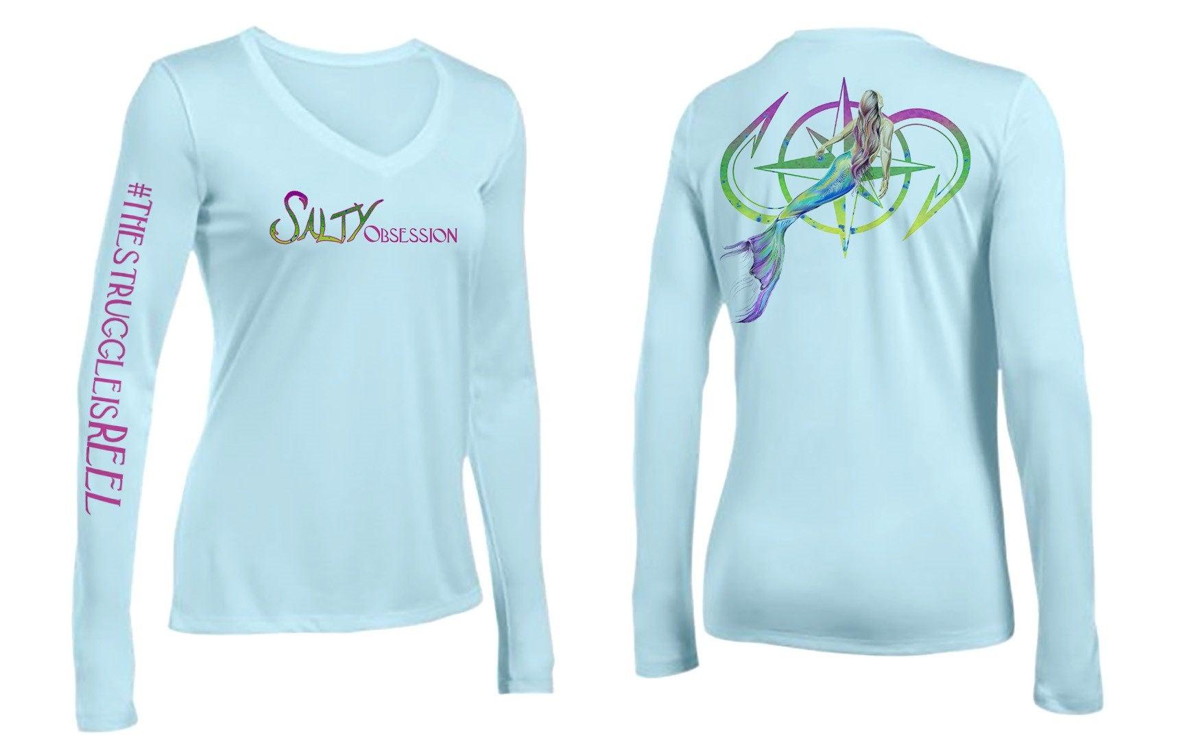 Salty Obsession Long Sleeve Ice Blue Mermaid Logo Womens