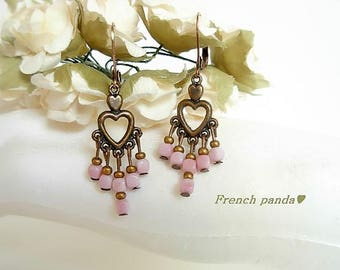 Pair of copper earrings Shabby pink beads