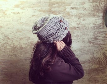 Warm winter Hat // Slouchy Beanie / Grey soft and warm crochet