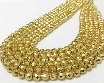 6mm Faceted Hematite Beads, Gold Plated Beads, Hematite Beads, Hematite Jewelry