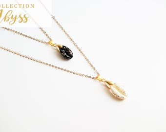 Necklace ABYSS white / black gold plated 14 k