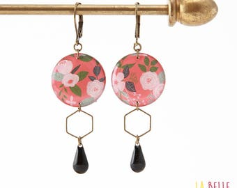 Resinees earrings round floral coral Hexagon