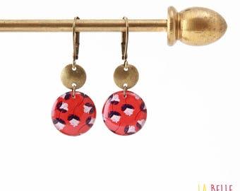Small earrings ' sleepers earrings resin red flower pattern