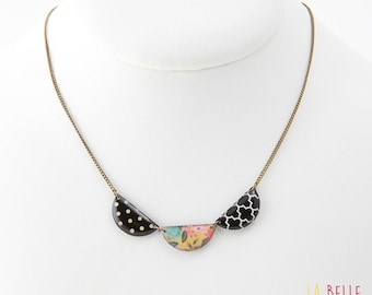 short necklace triple medallions pattern black and white graphic and floral mustard yellow