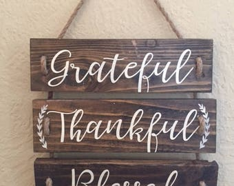 Pallet Wood Sign Grateful, Thankful, Blessed