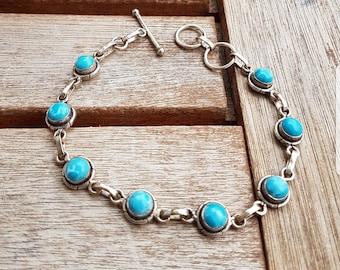 Silver bracelet with Larimar