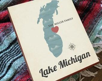 Lake Michigan - Lake Michigan Art - Lake Michigan Map - Lake Michigan Sign - South Haven - Lake Michigan Print - Lake Michigan Unsalted