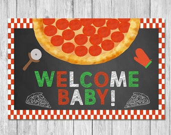 Pizza Party Baby Shower Welcome Baby Placemat - Baby Shower Place Setting Mat - Couples Baby Shower - Pizza Party Shower Favors