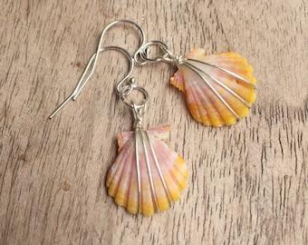 Petite Little Orange Sunrise Shell Earrings