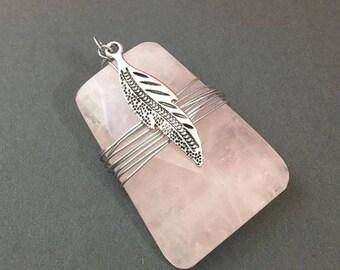 Pink Quartz Wrapped Pendant