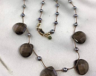 Faceted Smokey Quartz HandKnotted necklace