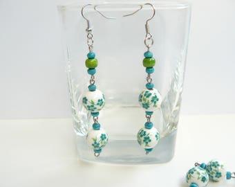 Earrings, Handmade, Porcelain beads, Wooden beads