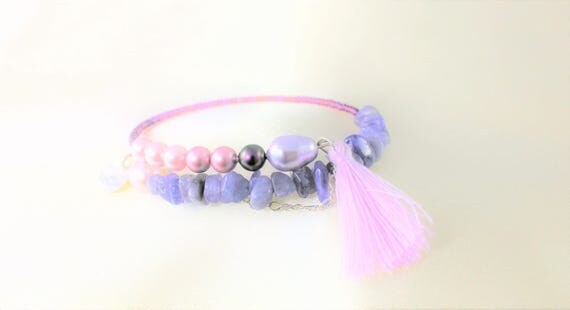 Memory bracelet swarovski pearl beads imitating pearls, seed beads, gemstones: tanzanite and charms