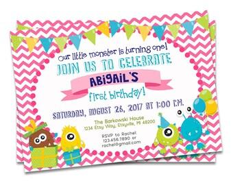 Monster Birthday Invitation Girl Pink, Monster First Birthday Invitation Pink, Pink Monster Party, Pink Girl First Birthday Invitation