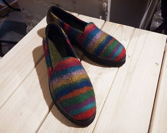 Felted colorful rainbow women slippers