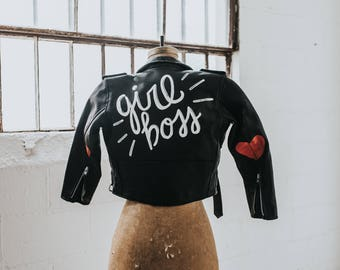 Hand-Painted Vintage Leather 'Girl Boss' Jacket - Children's Size