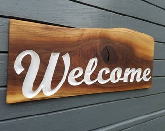Walnut Welcome Sign - Natural Live Edge - Rustic Look