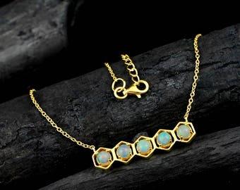 Ethiopian Opal Necklace, Ethiopian Opal Jewelry,Birthstone Jewelry, Dainty Necklace, Welo Opal Jewelry,Occasion & Partywear Necklace,ETN1003